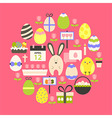 Easter holiday flat icons set over dark pink vector