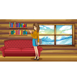 A lady standing with a binder near the sofa vector