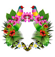 Tropical flowers and leaves and beautiful bird vector