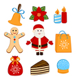 Collection of colorful christmas icons or objects vector