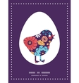 Colorful bouquet flowers chicken silhouette vector