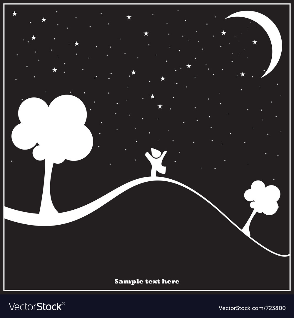 A child walking in the night vector | Price: 1 Credit (USD $1)