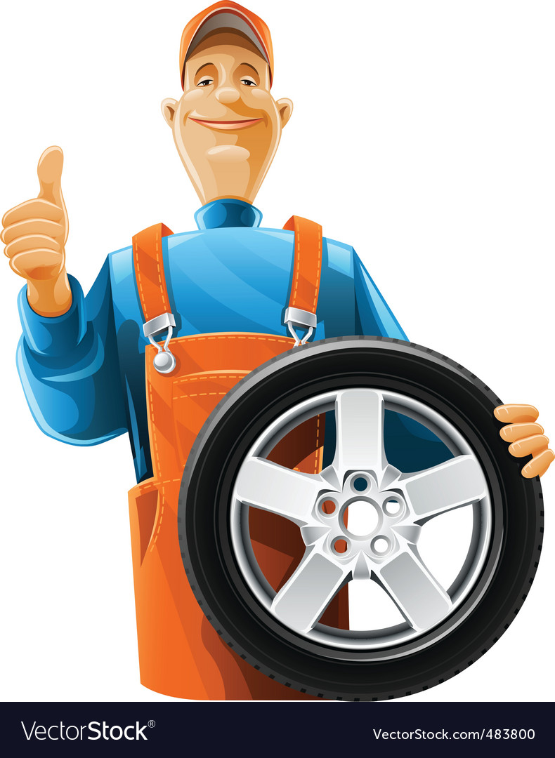 Auto mechanic with wheel vector | Price: 5 Credit (USD $5)