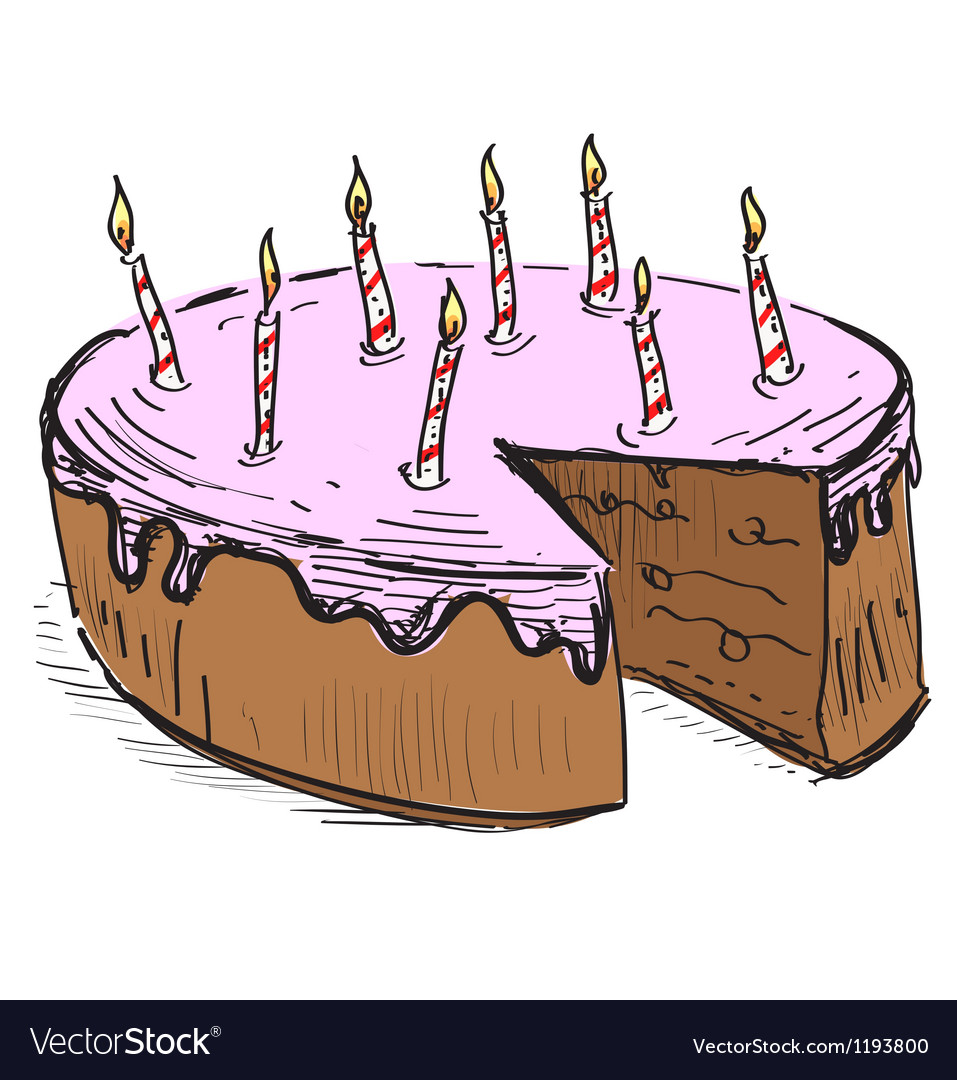 Birthday cake with candles vector | Price: 1 Credit (USD $1)