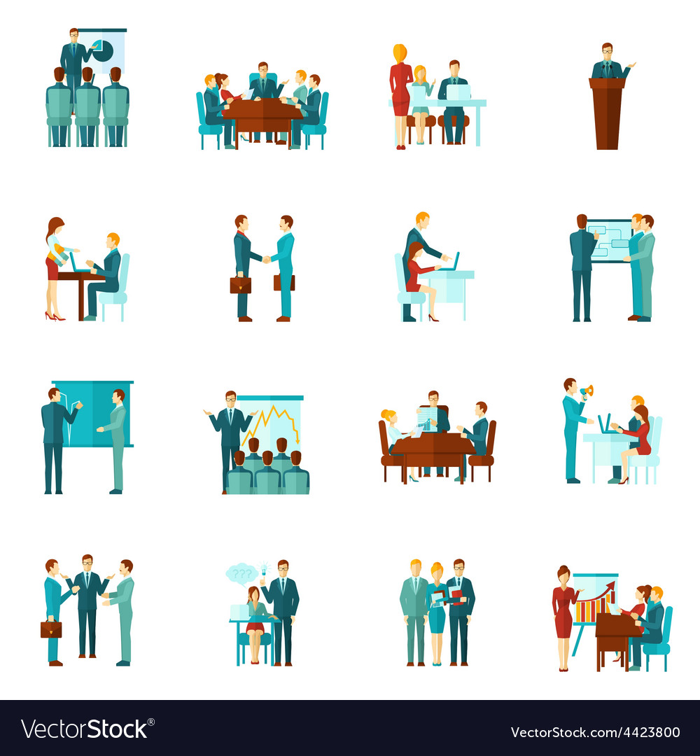 Business training flat icons vector | Price: 1 Credit (USD $1)