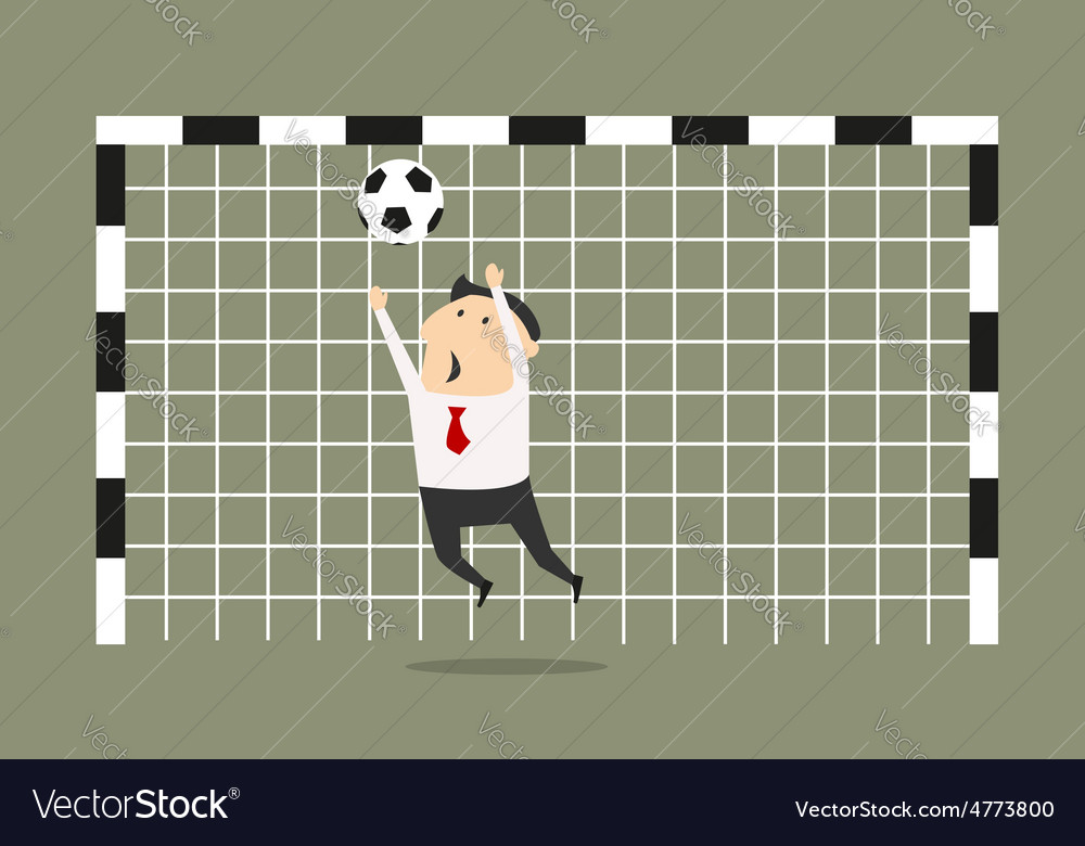 Businessman goalkeeper blocking the shoot vector | Price: 1 Credit (USD $1)