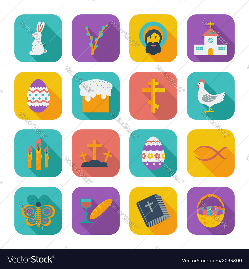 Color flat easter icons vector | Price: 1 Credit (USD $1)