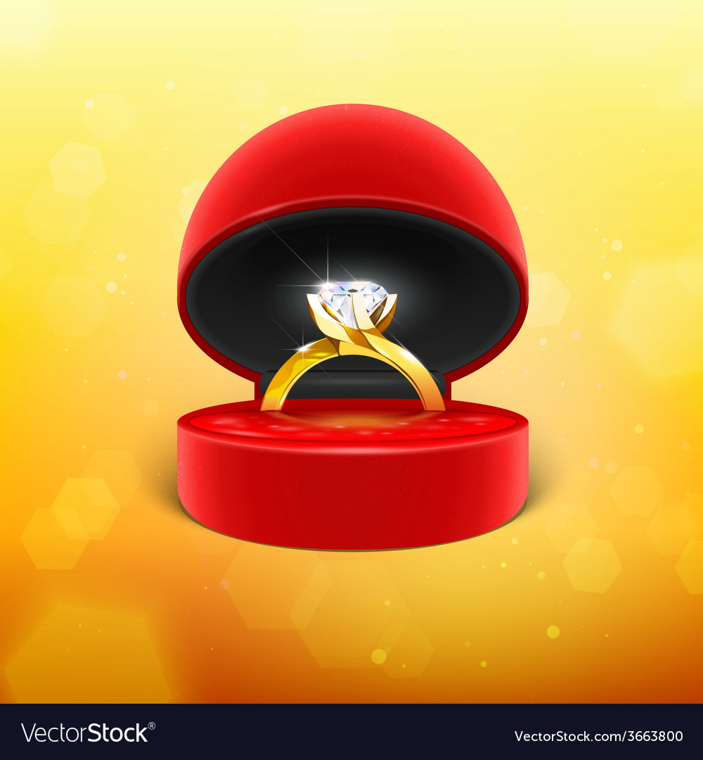 Diamond engagement ring in box icon vector | Price: 1 Credit (USD $1)