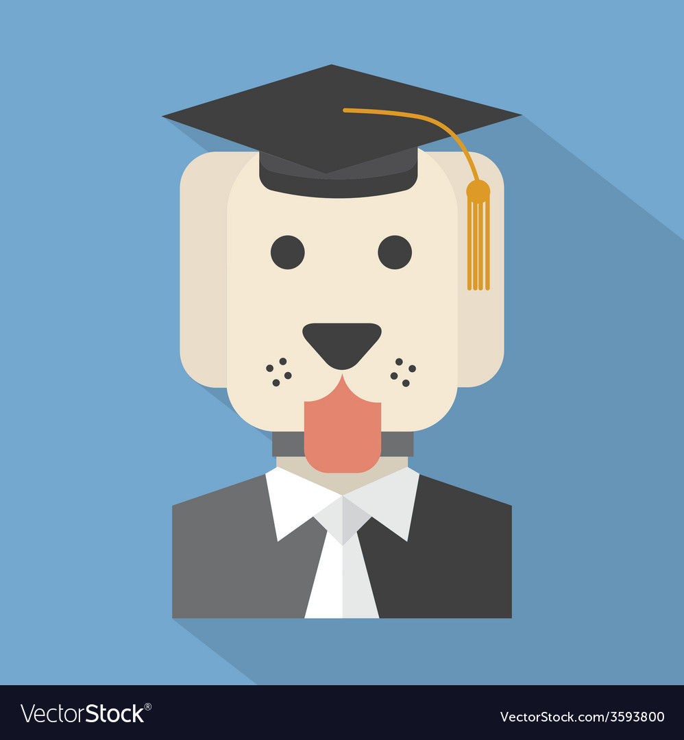 Dog with mortarboard pedigree concept vector | Price: 1 Credit (USD $1)