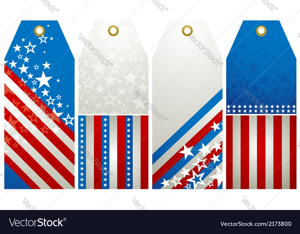 Four labels with elements of usa banner vector | Price: 1 Credit (USD $1)