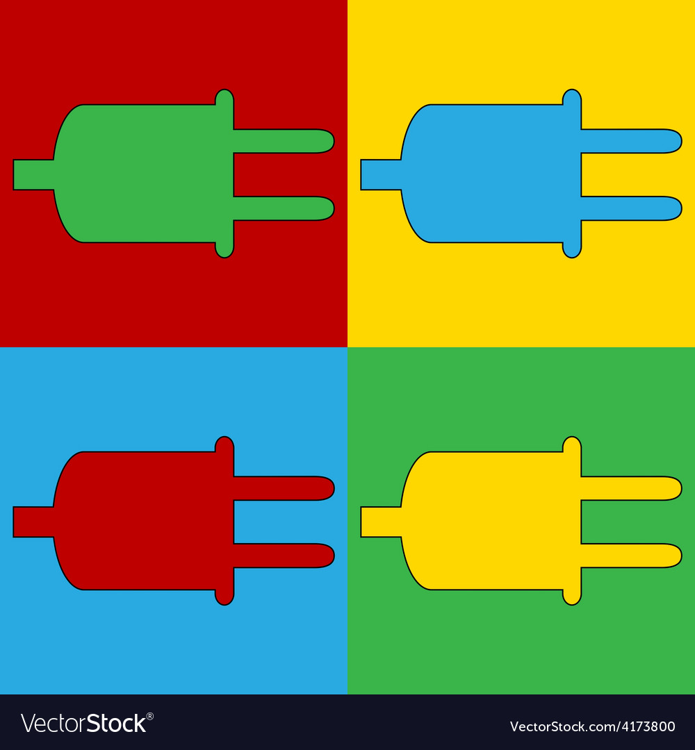 Pop art power cord icons vector | Price: 1 Credit (USD $1)