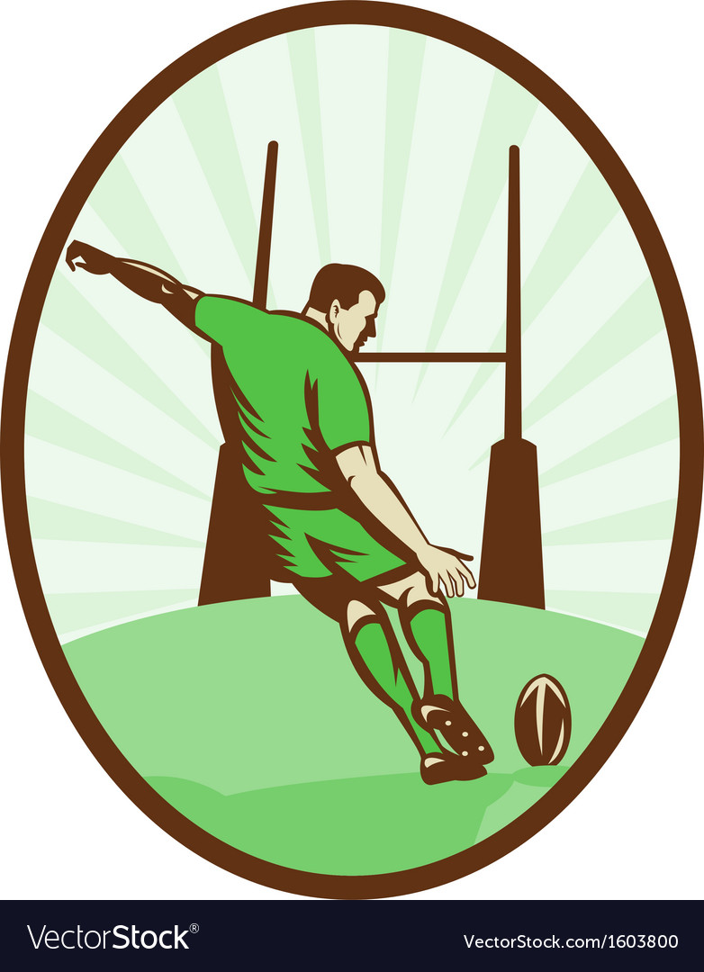 Rugby player kicking ball at goal post vector | Price: 1 Credit (USD $1)