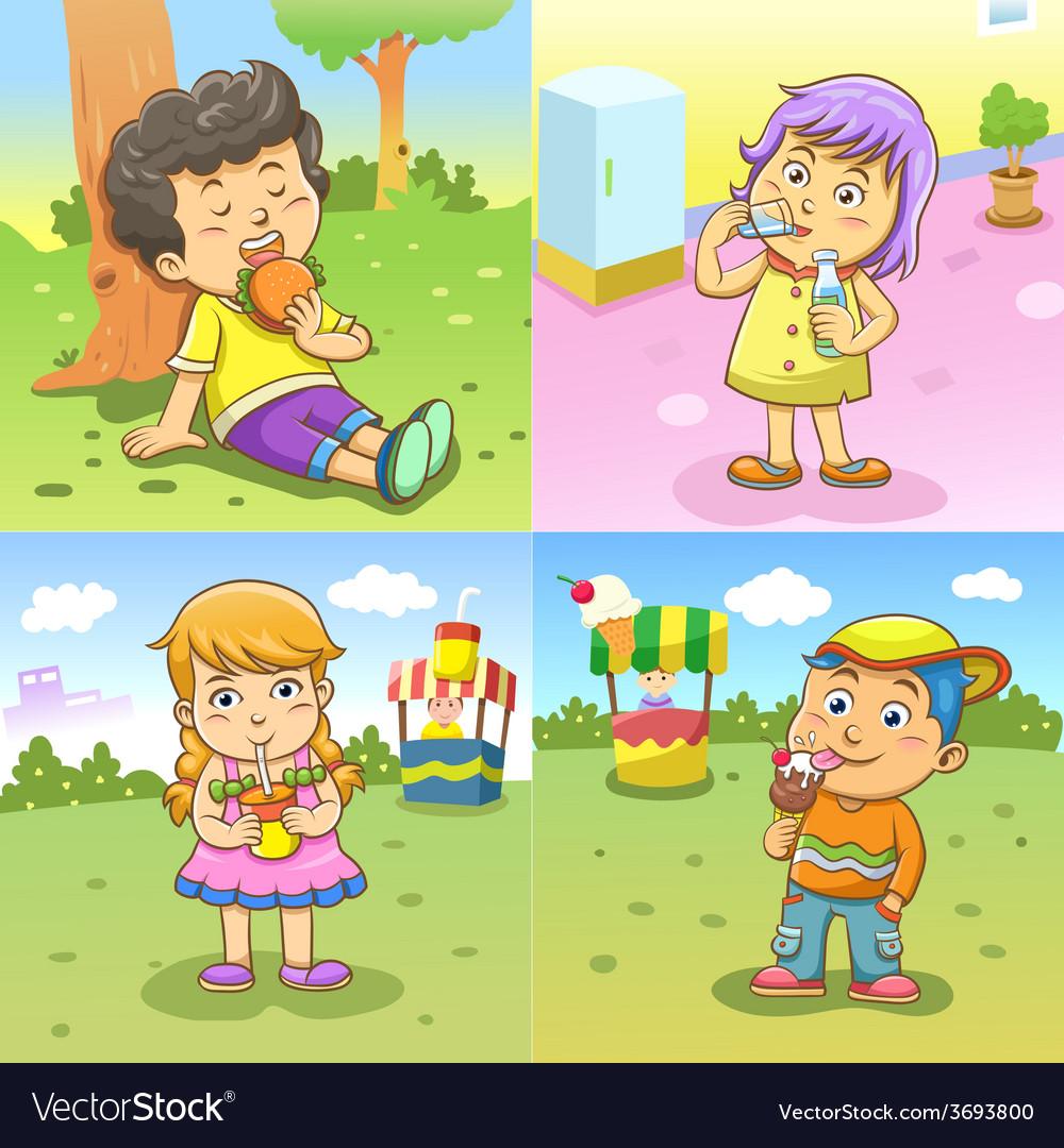 Set of child activities routines vector | Price: 3 Credit (USD $3)