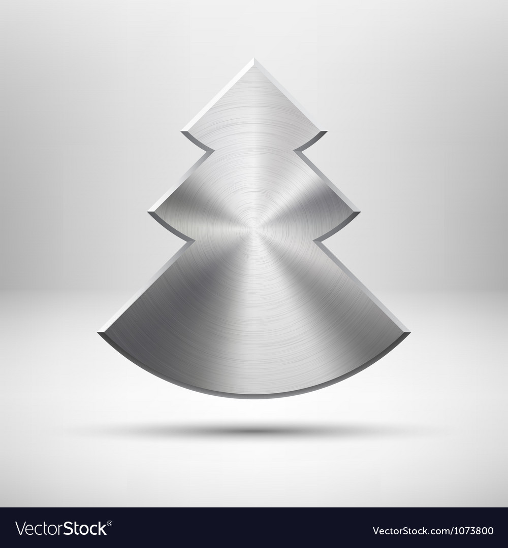 Tecnology christmas tree icon with metal texture vector | Price: 1 Credit (USD $1)