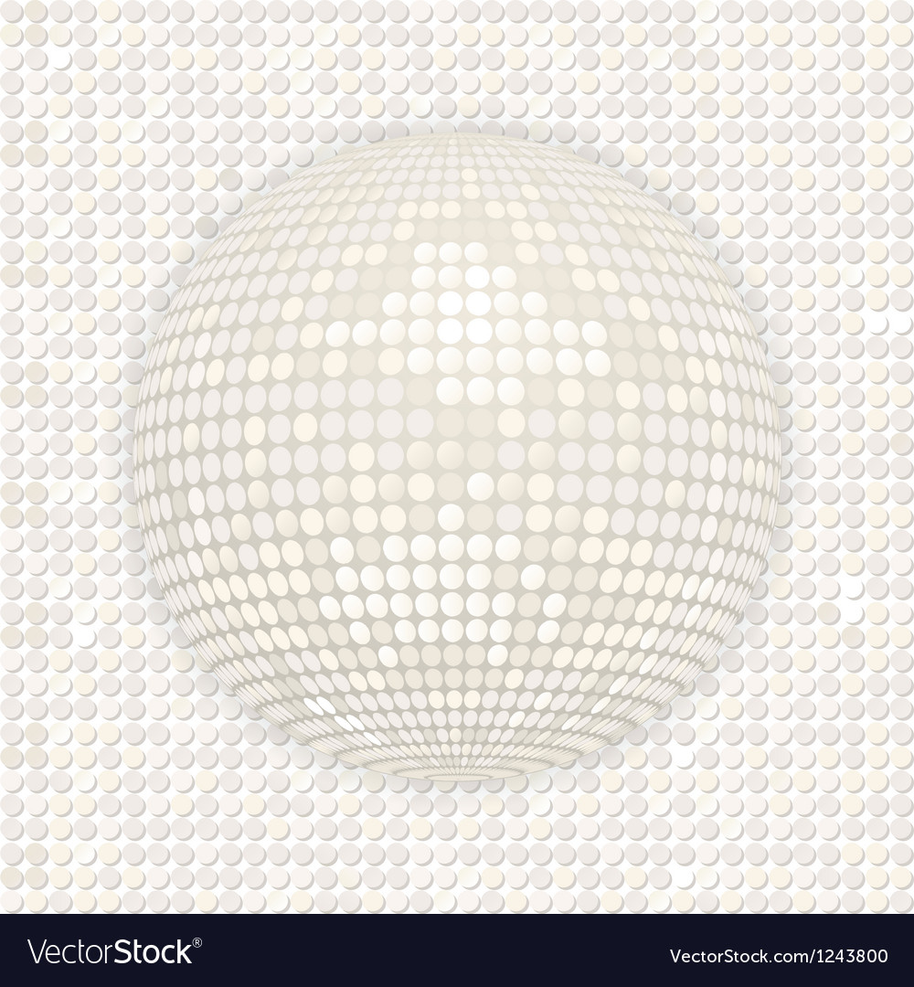 White disco ball on white mosaic background vector | Price: 1 Credit (USD $1)