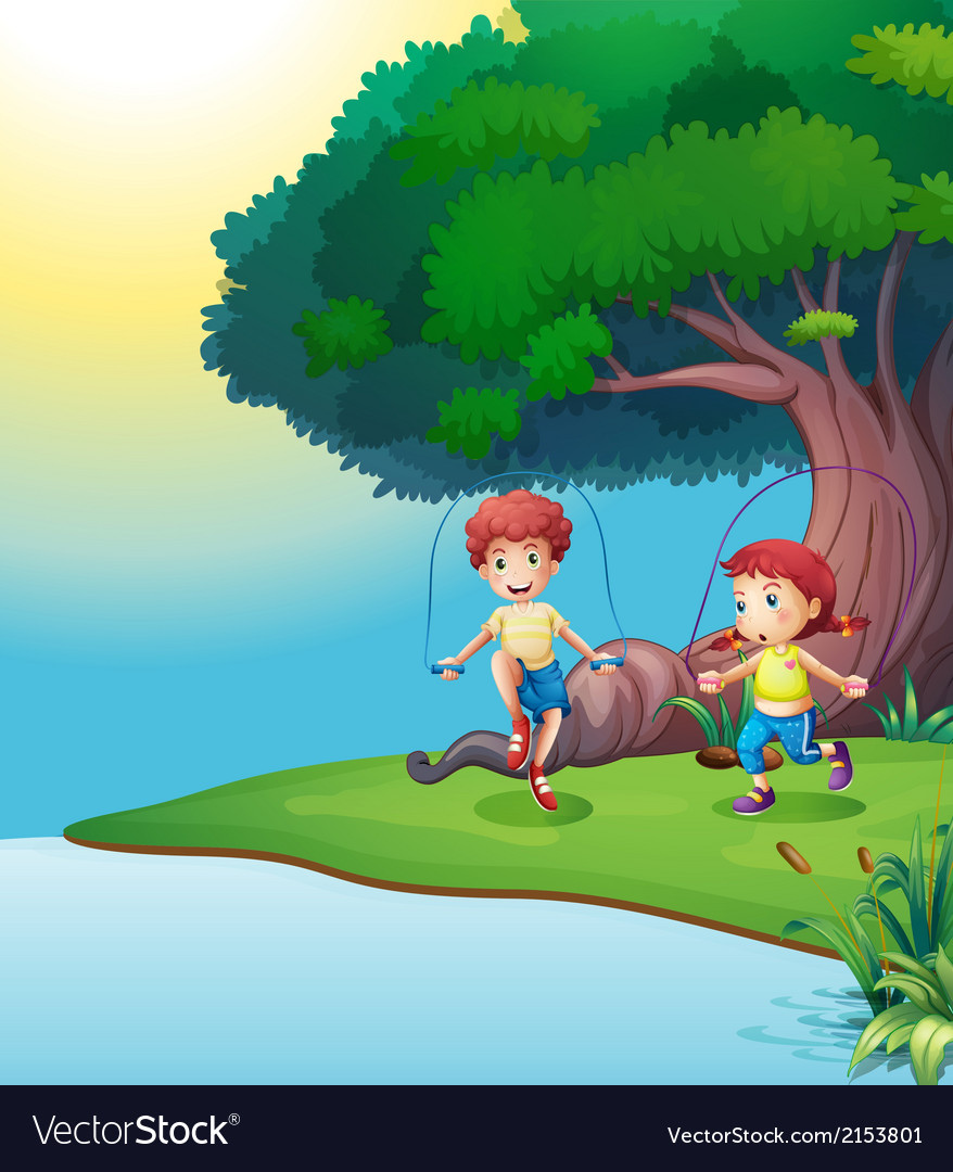 A boy and a girl playing near the giant tree vector | Price: 3 Credit (USD $3)