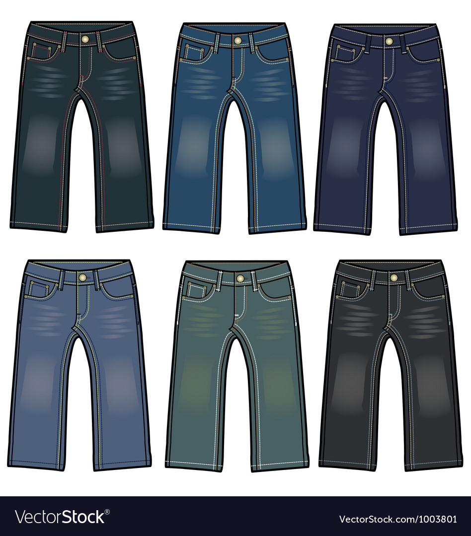 Boys denim washing jeans vector | Price: 1 Credit (USD $1)