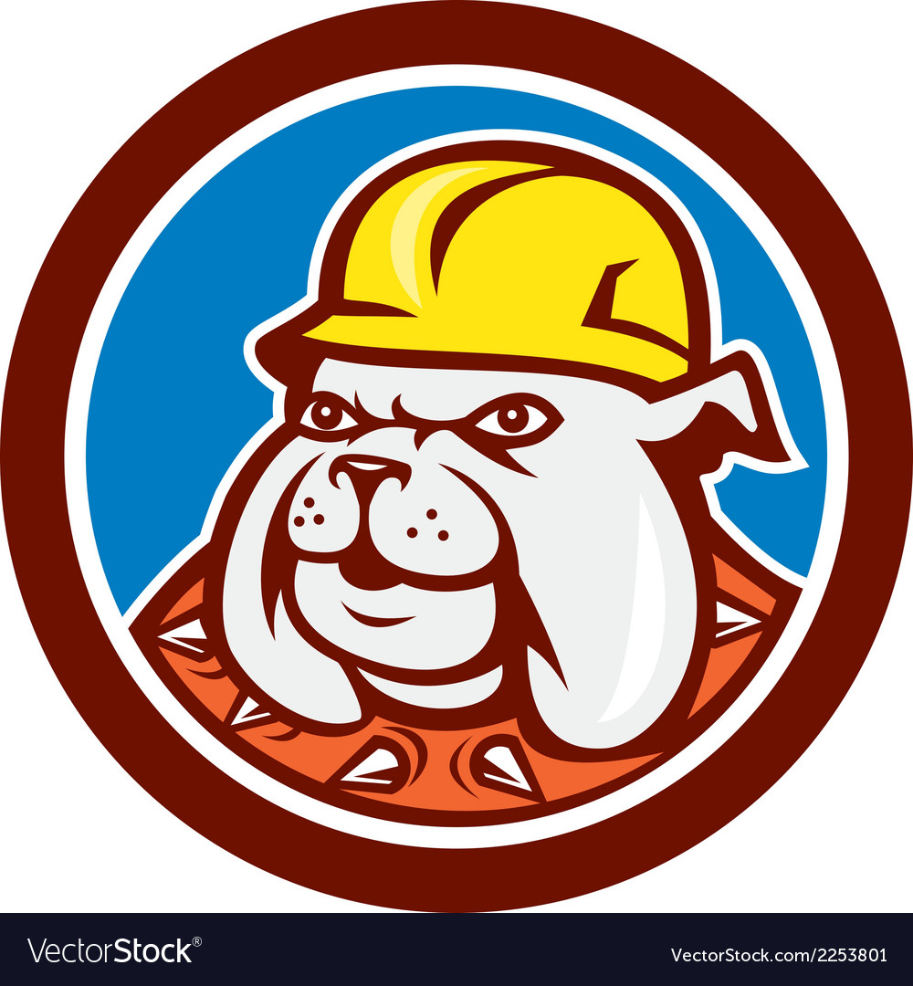 Bulldog construction worker head cartoon vector | Price: 1 Credit (USD $1)