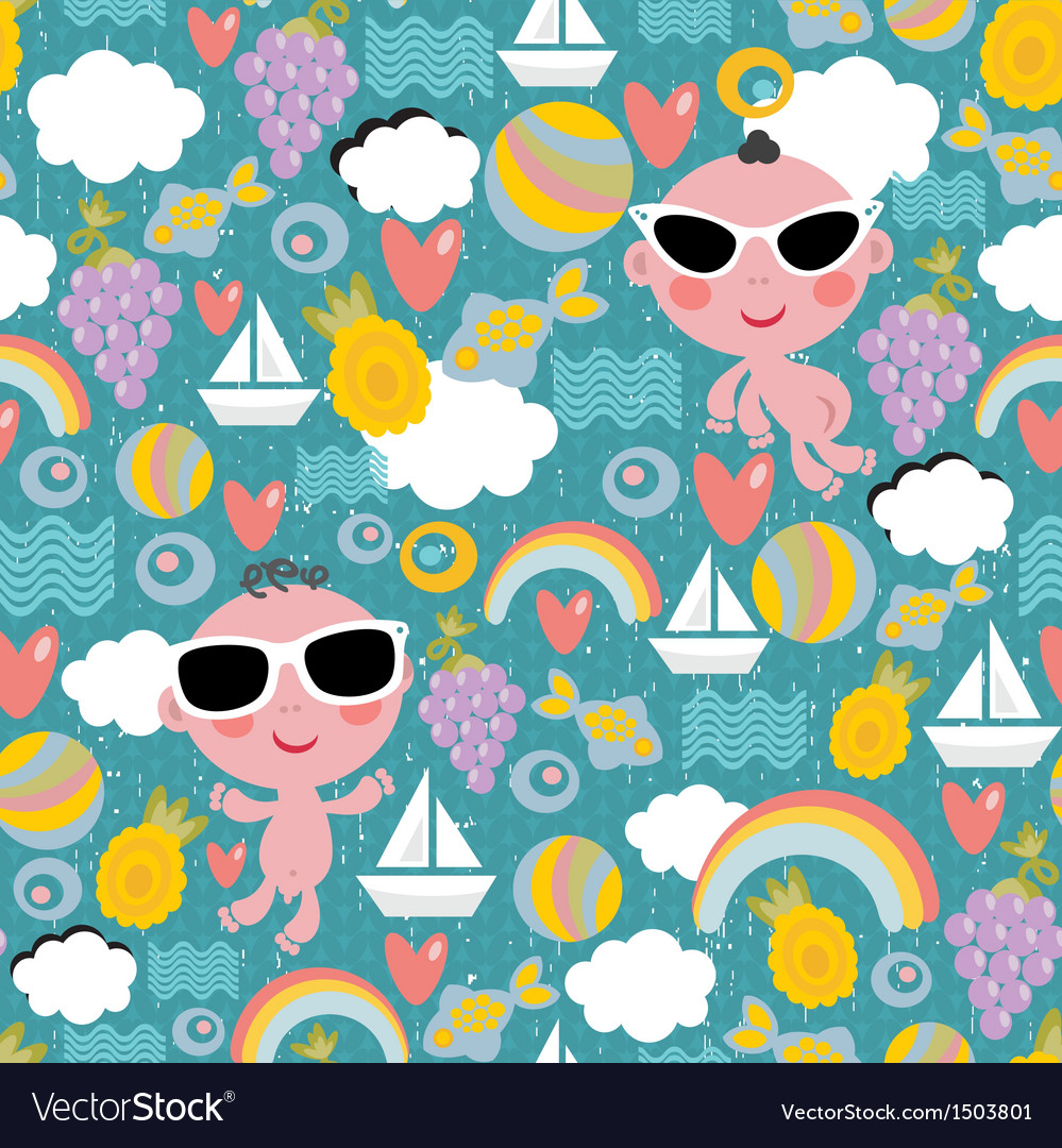 Cool baby on vacation seamless pattern vector | Price: 1 Credit (USD $1)