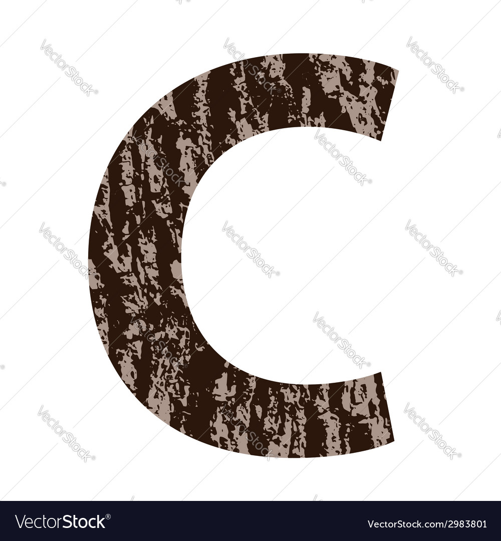Letter c made from oak bark vector | Price: 1 Credit (USD $1)