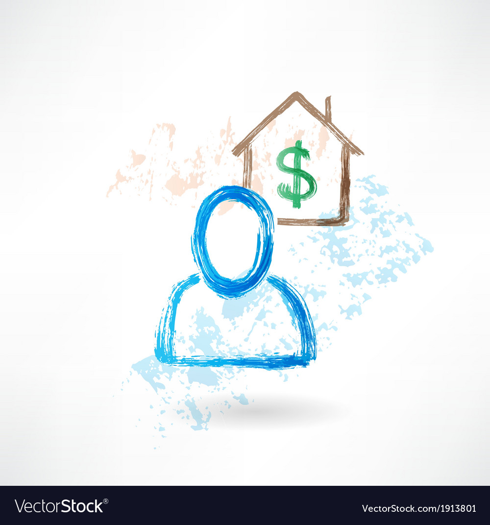 Man and house grunge icon vector   Price: 1 Credit (USD $1)