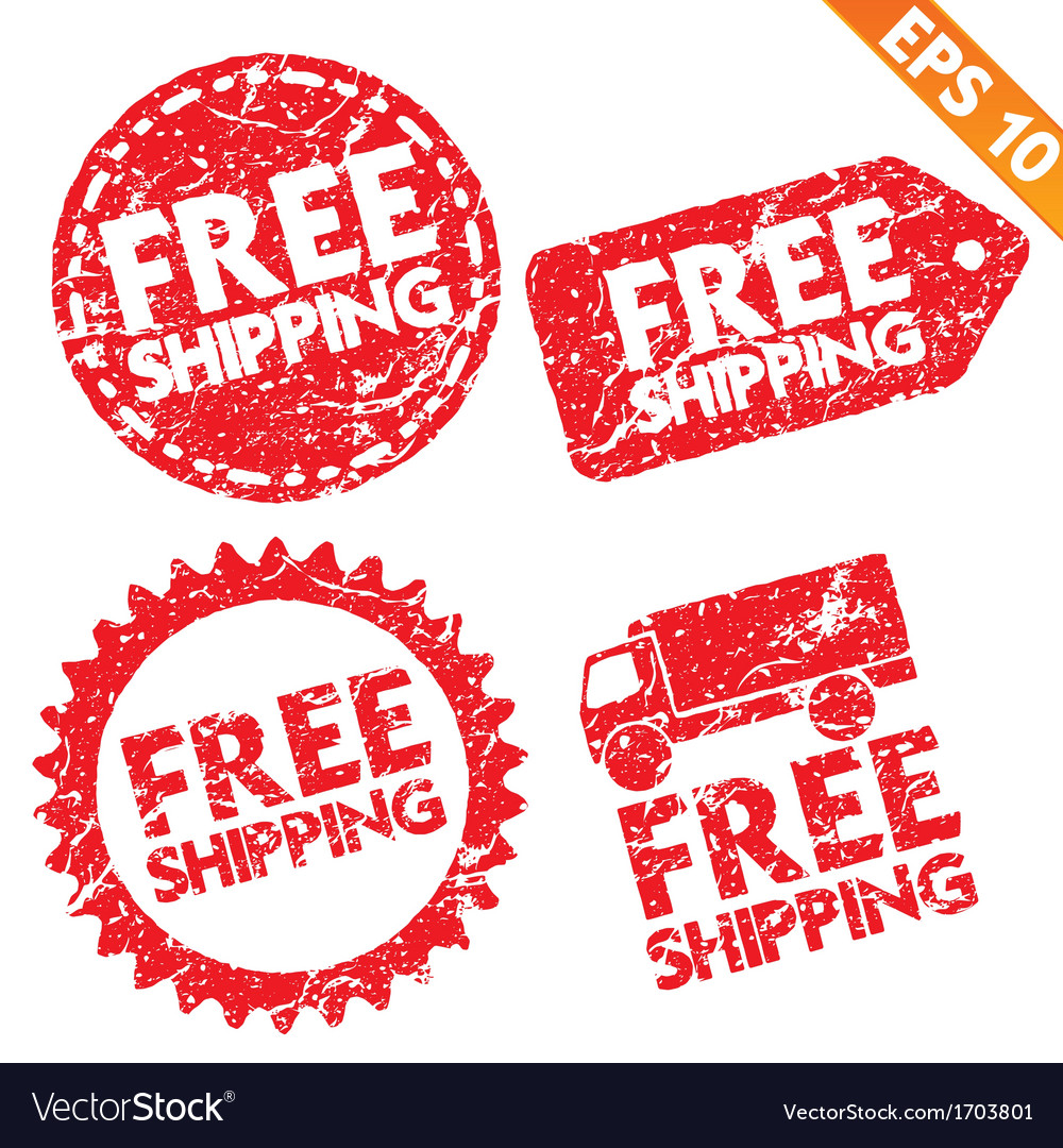 Stamp stitcker free shipping tag collection - vector | Price: 1 Credit (USD $1)