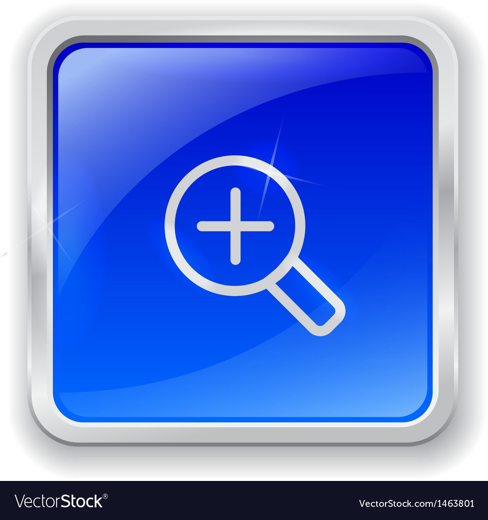 Zoom in icon on blue button vector | Price: 1 Credit (USD $1)