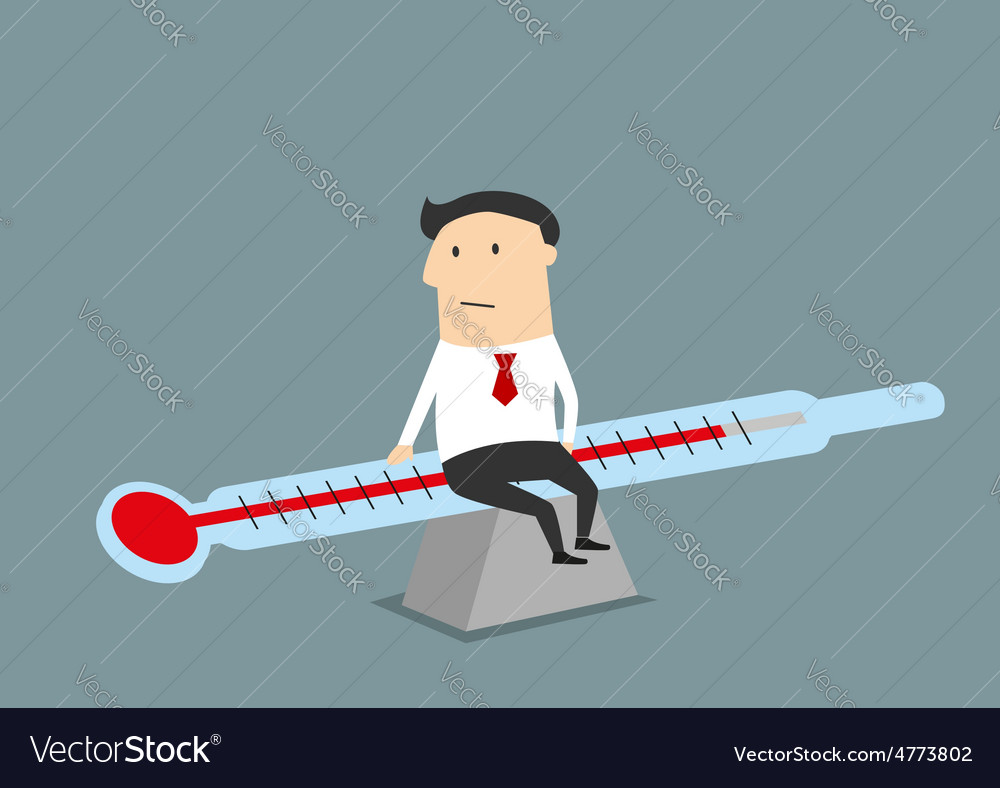 Businessman balancing between illness and health vector | Price: 1 Credit (USD $1)