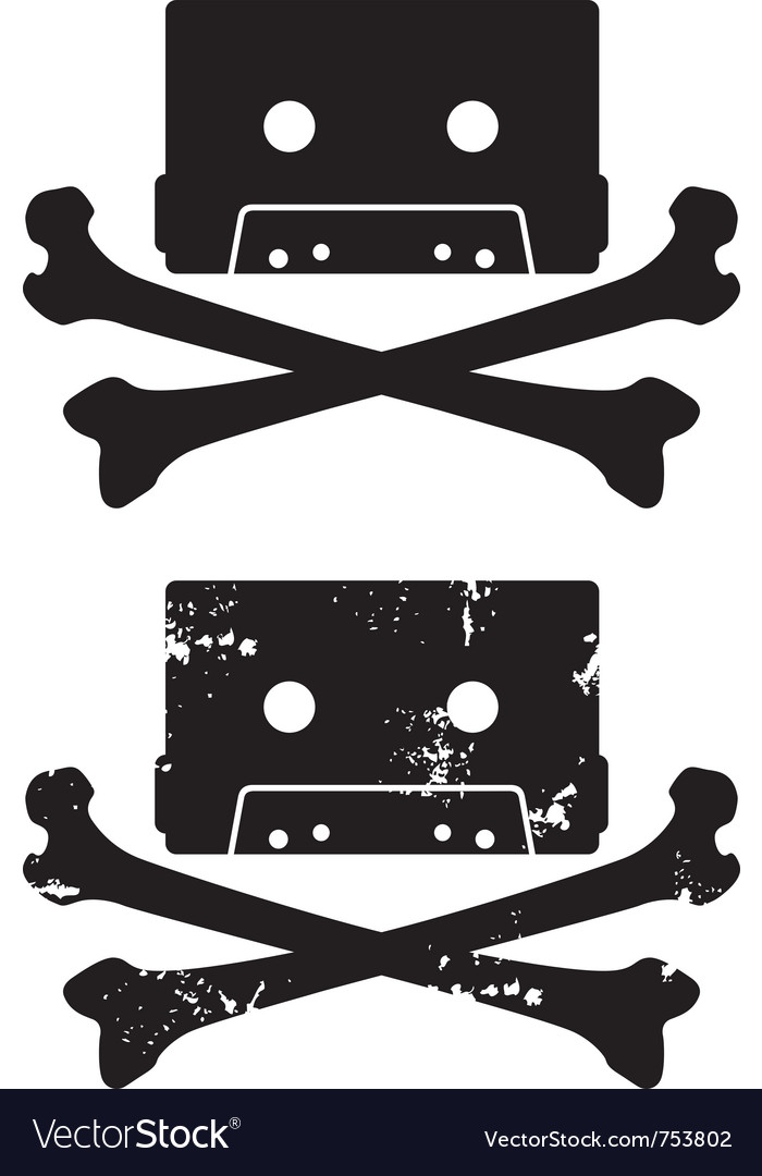 Cassette skull icon vector | Price: 1 Credit (USD $1)