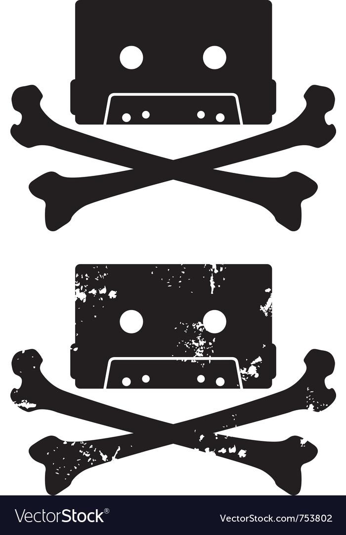 Cassette skull icon vector | Price: 1 Credit (USD $1)