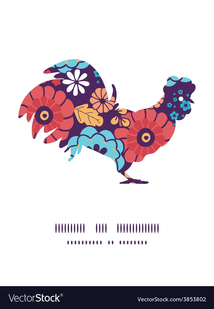 Colorful bouquet flowers rooster silhouette vector   Price: 1 Credit (USD $1)