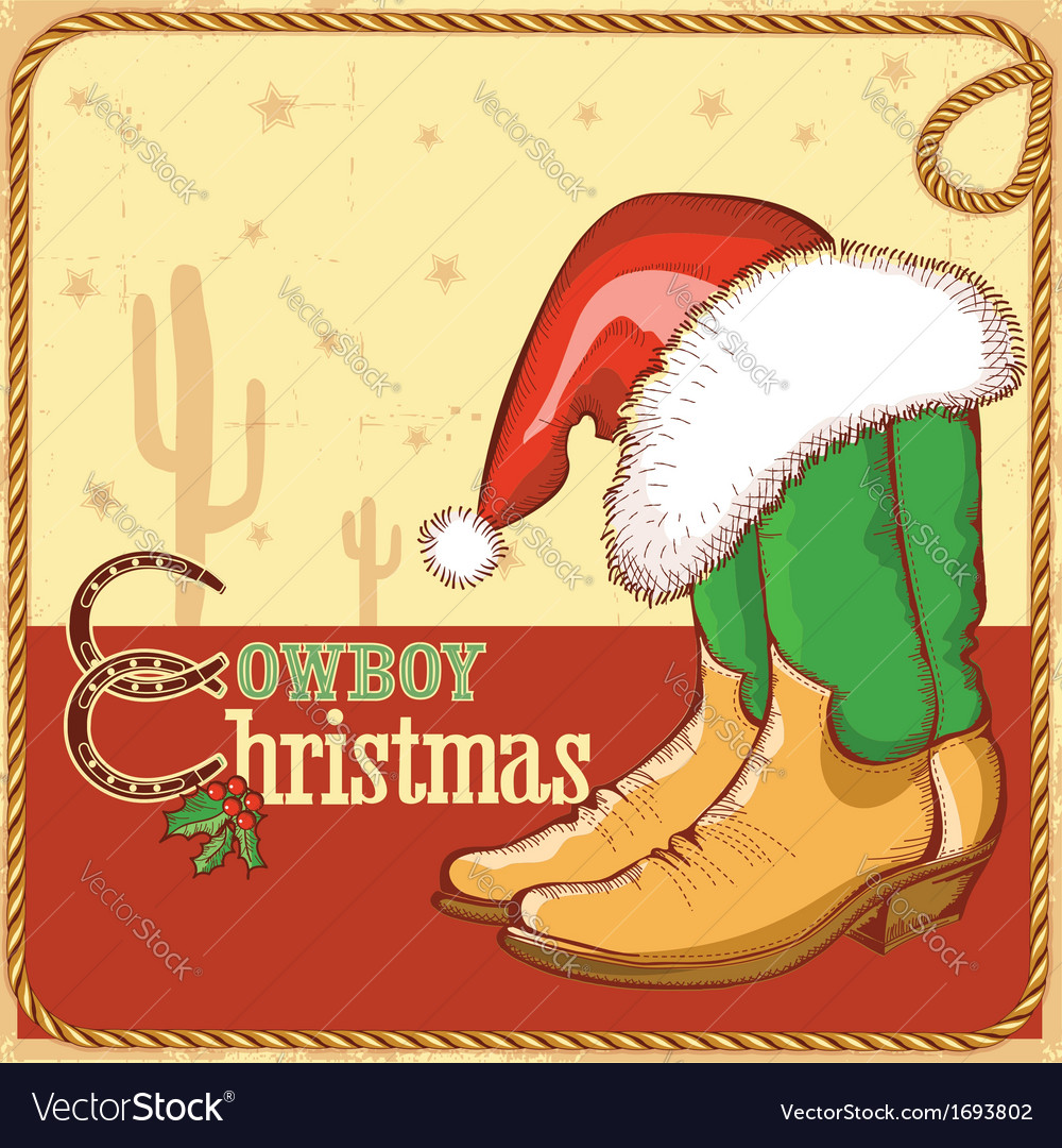 Cowboy christmas card with american boots and vector | Price: 1 Credit (USD $1)