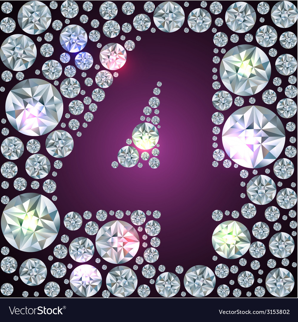 Diamond number four vector | Price: 1 Credit (USD $1)