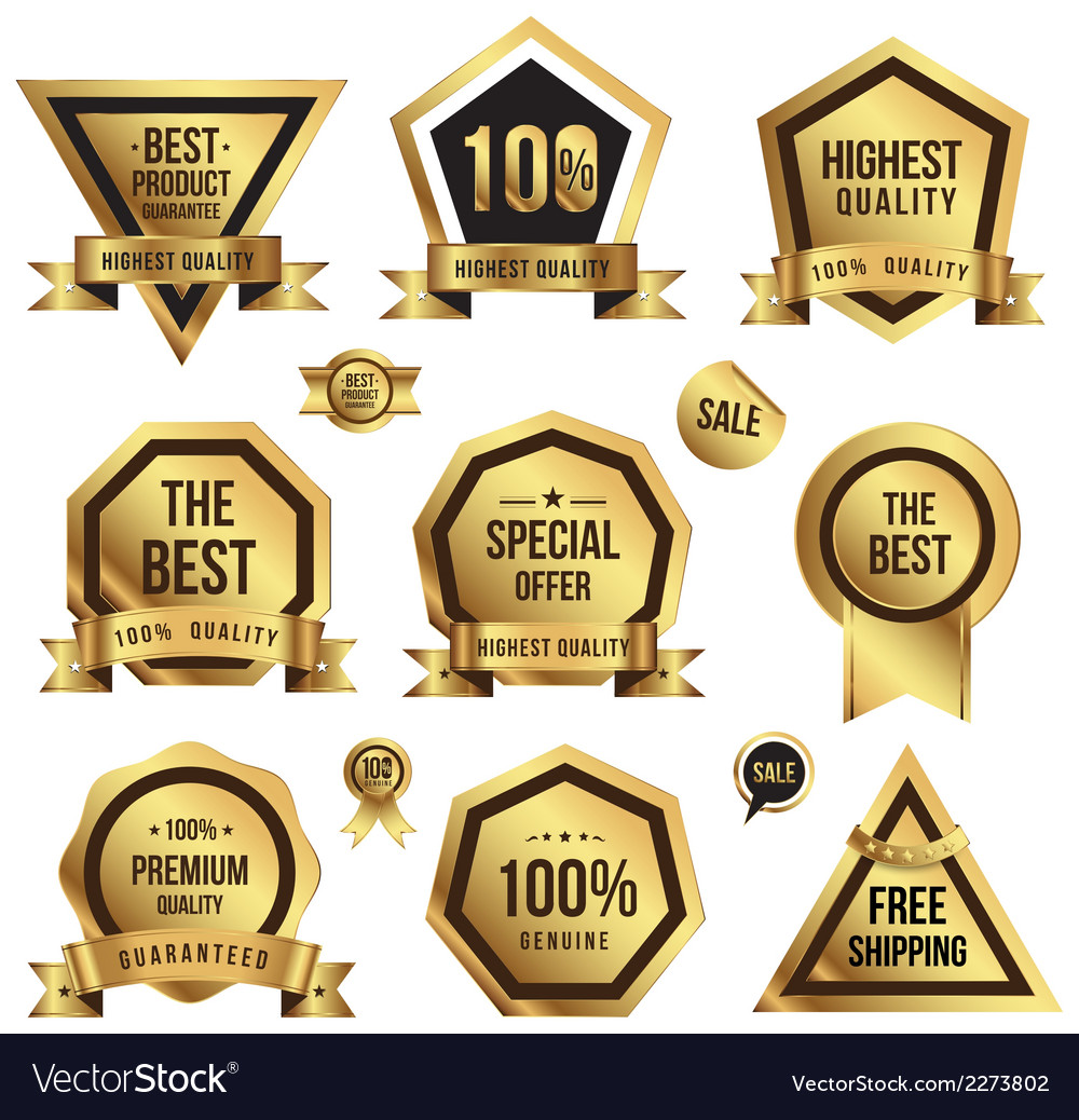 Gold tag set vector | Price: 1 Credit (USD $1)