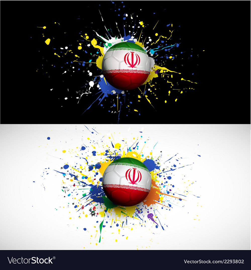 Iran flag with soccer ball dash on colorful vector | Price: 1 Credit (USD $1)