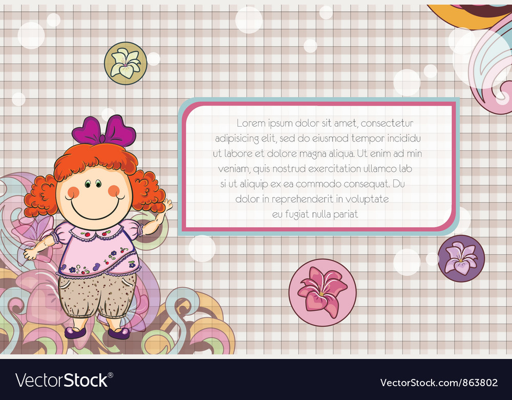 Little girl with floral vector | Price: 3 Credit (USD $3)