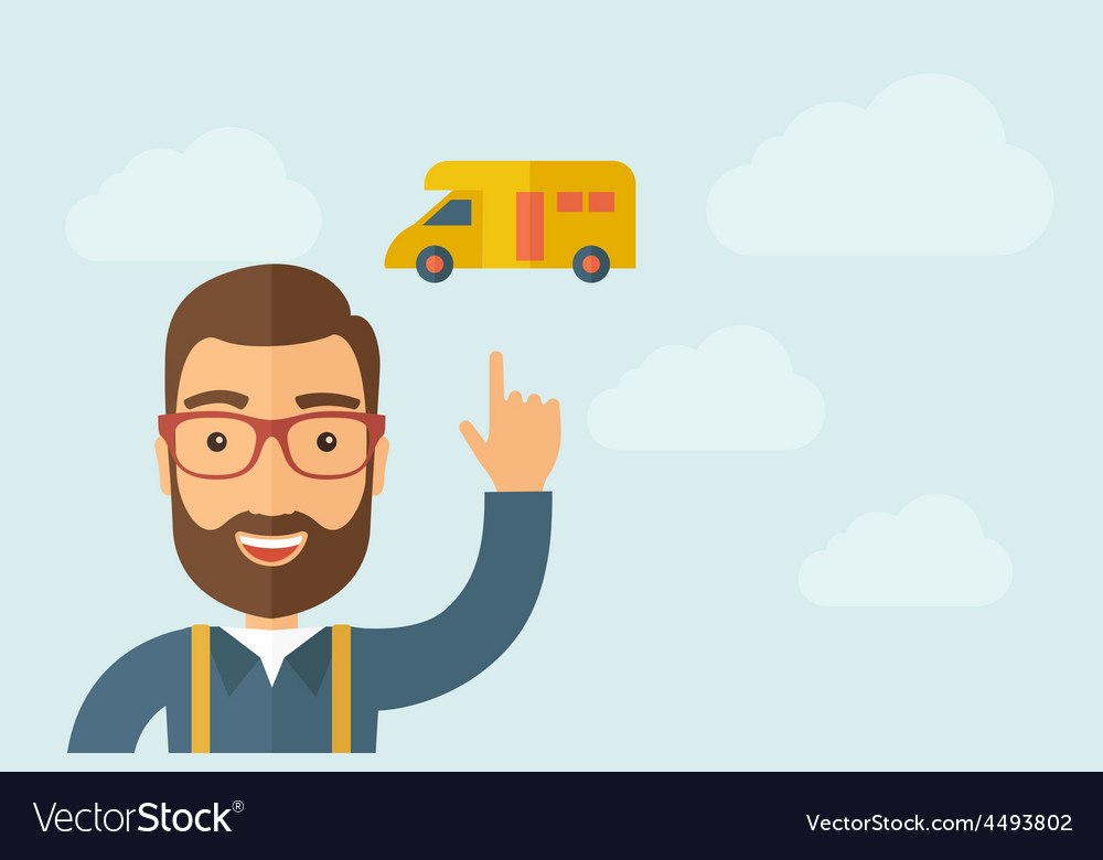 Man pointing the delivery van icon vector   Price: 1 Credit (USD $1)