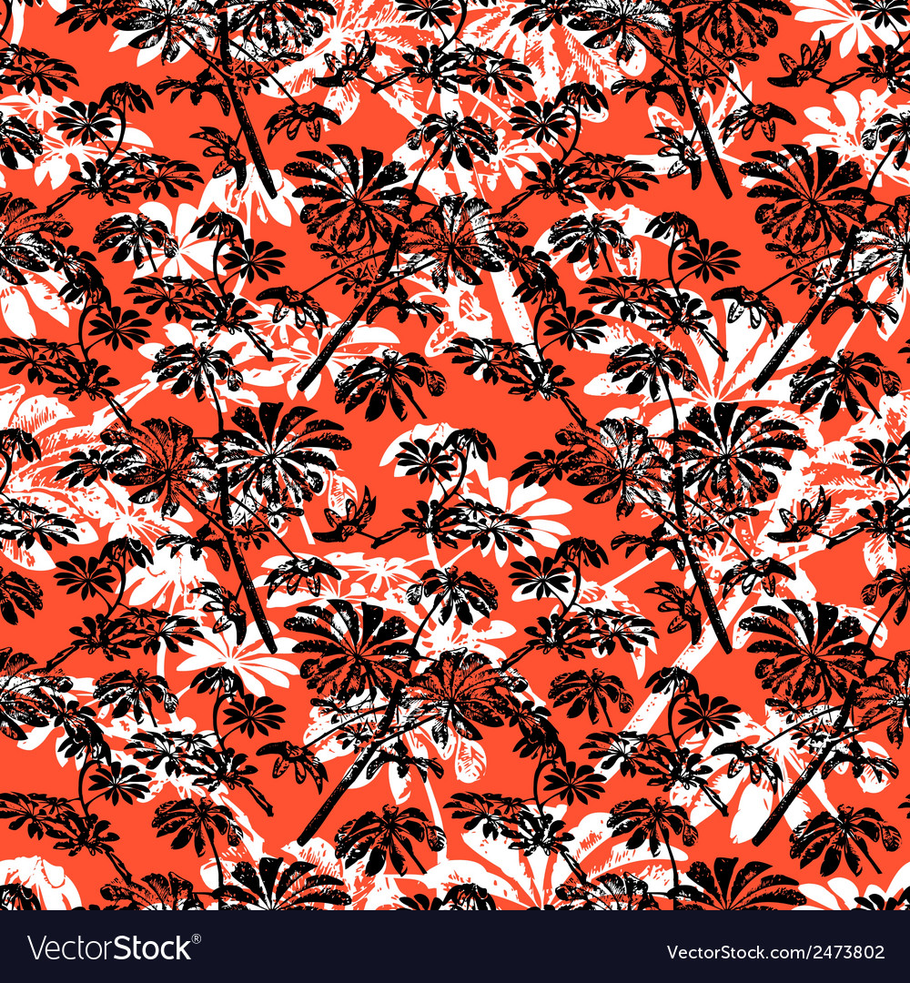 Pattern with tropical trees and leaves vector | Price: 1 Credit (USD $1)