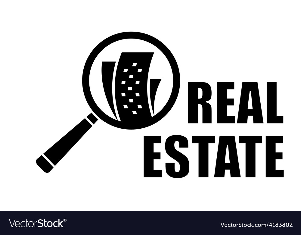 Real estate icon with magnifier lens vector | Price: 1 Credit (USD $1)