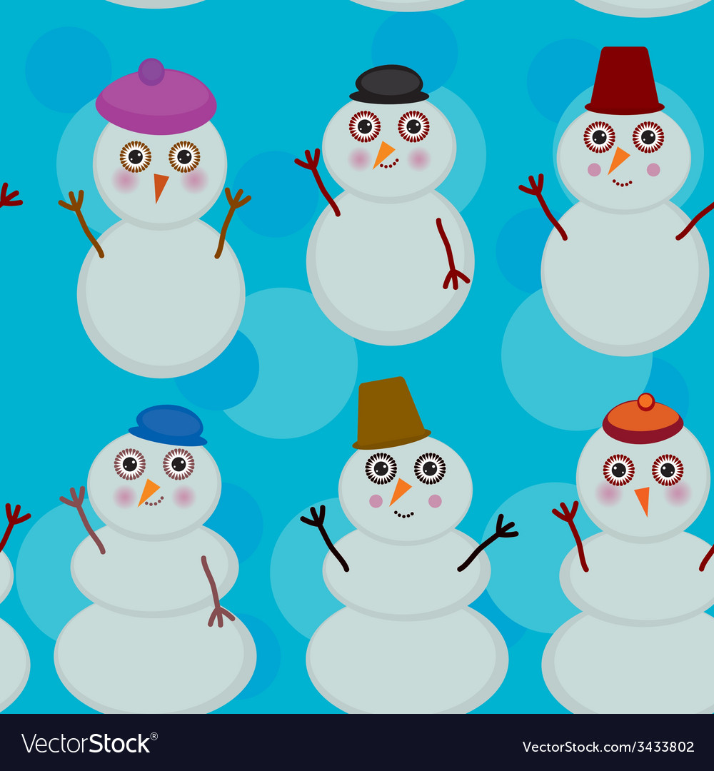 Seamless pattern cute cartoon snowmen on blue vector | Price: 1 Credit (USD $1)