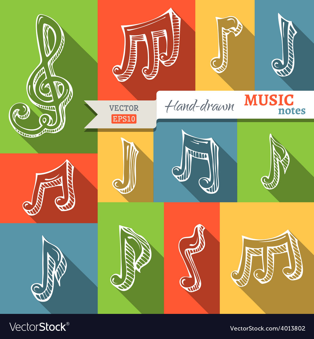 Set of music notes and g-clef vector | Price: 1 Credit (USD $1)