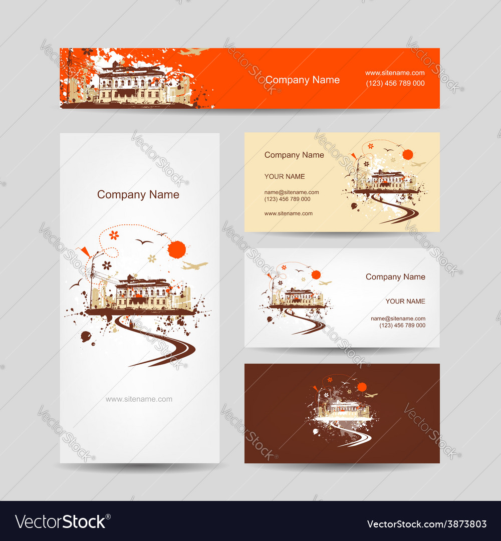 Business cards design with retro house sketch vector | Price: 1 Credit (USD $1)