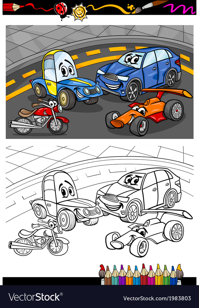 Cartoon cars for coloring book vector | Price: 1 Credit (USD $1)