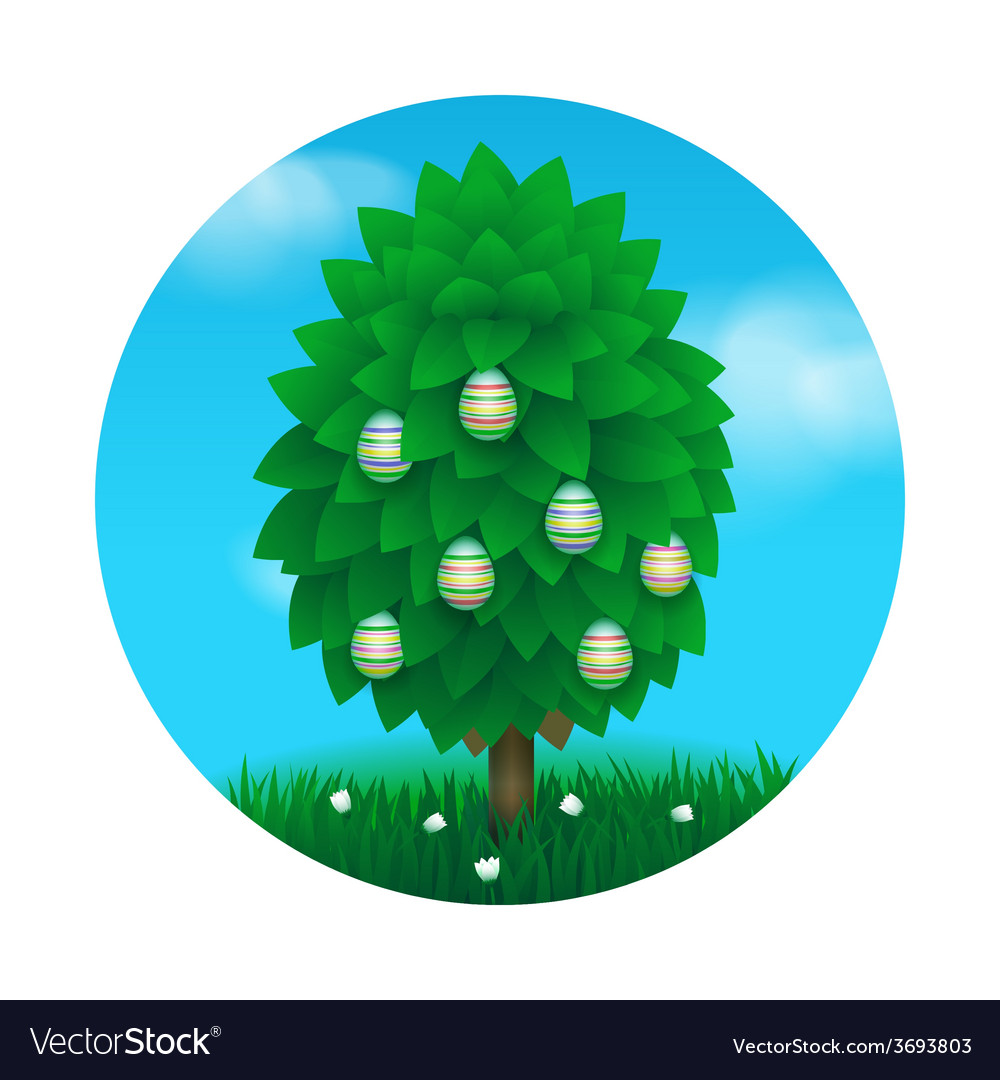 Easter tree greeting card vector | Price: 1 Credit (USD $1)