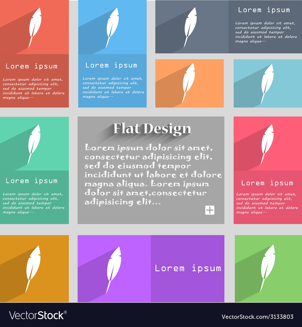 Feather sign icon retro pen symbol set of colored vector | Price: 1 Credit (USD $1)
