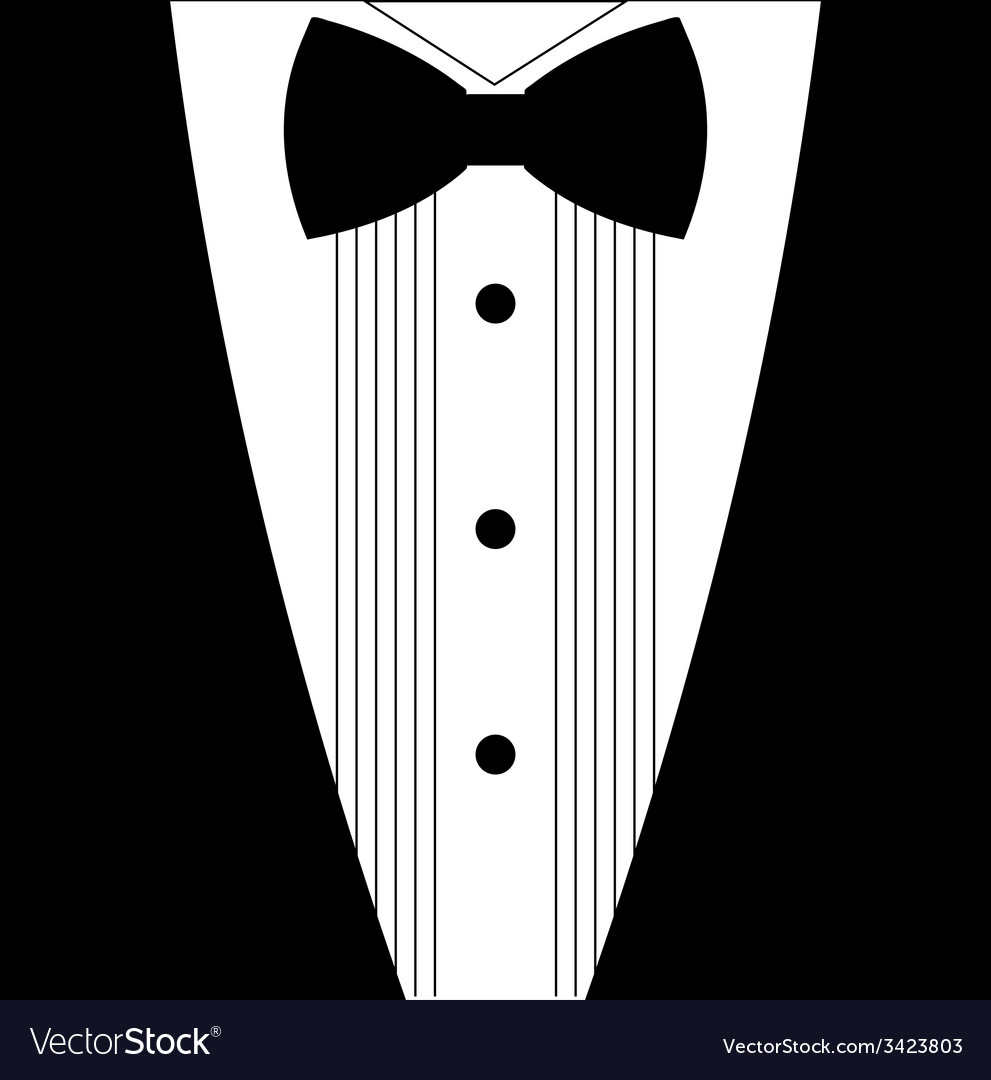 Flat black and white tuxedo bow tie vector | Price: 1 Credit (USD $1)