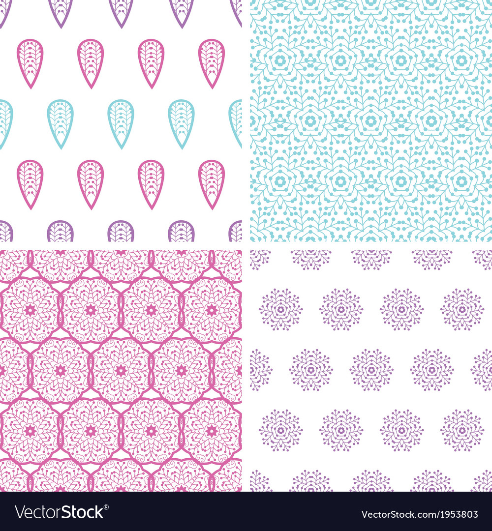 Four abstract feather motives seamless patterns vector | Price: 1 Credit (USD $1)