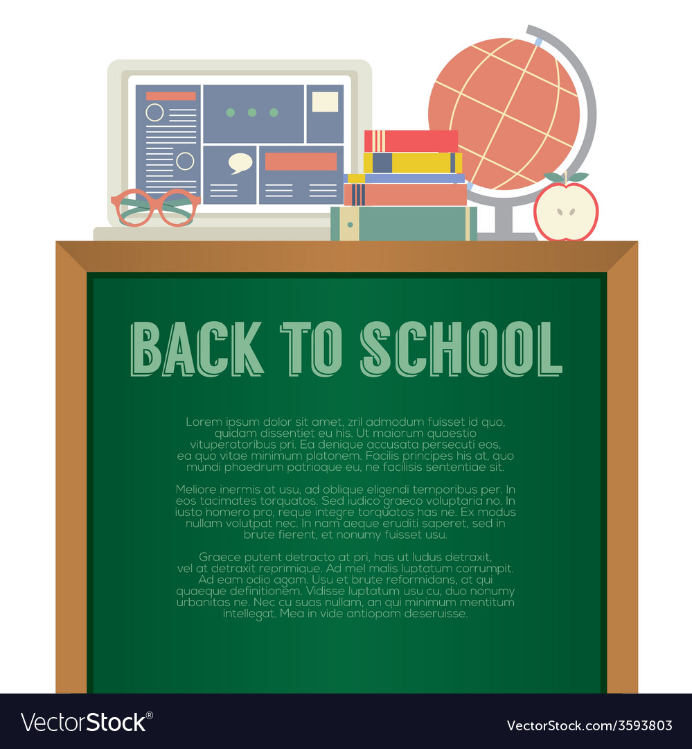 Laptop books and desk globe back to school concept vector   Price: 1 Credit (USD $1)