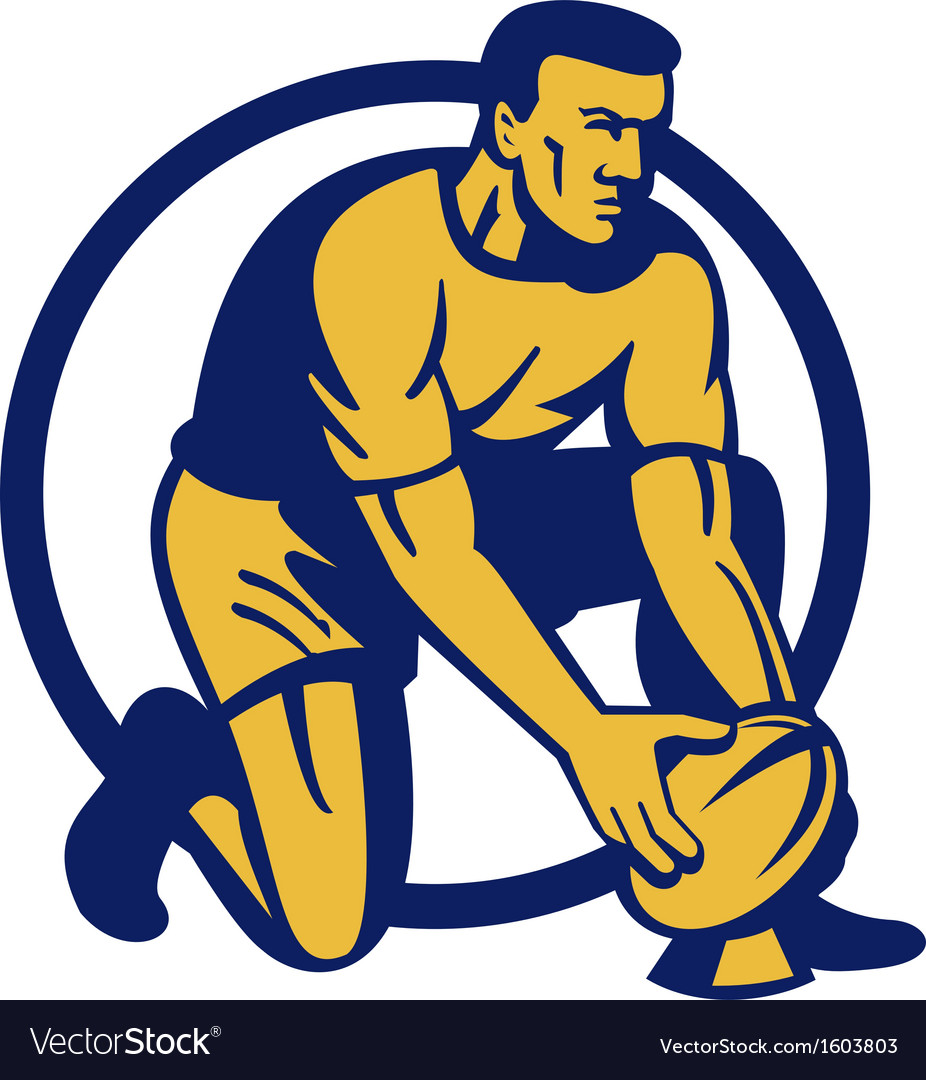 Rugby player kneeling preparing a goal kick vector   Price: 1 Credit (USD $1)