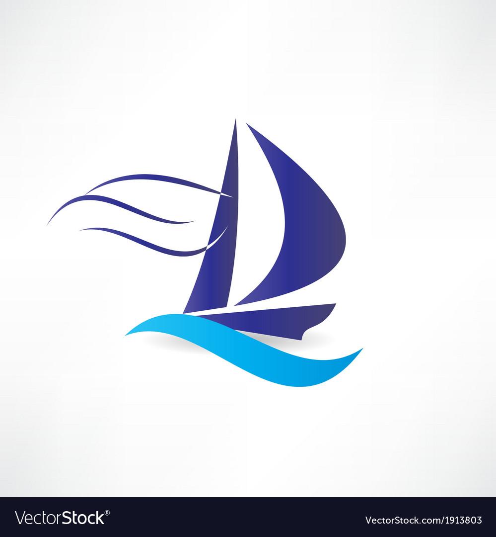 Sailboat at sea icon vector | Price: 1 Credit (USD $1)